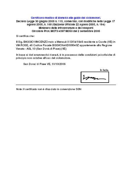 Certificato medico di idoneità alla guida dei ciclomotori.