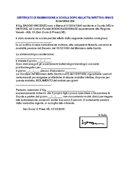 Certificato di Riammissione a Scuola dopo Malattia Infettiva Grave
