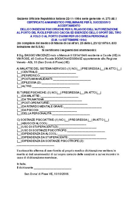 Certificato anamnestico preliminare per accertamento al - Porta d armi uso sportivo ...