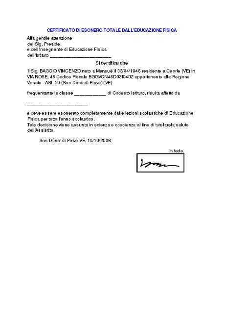 Certificato di esonero totale dall'educazione fisica