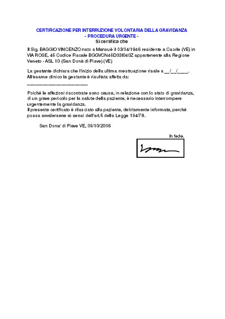 Certificazione per Interruzione Volontaria della Gravidanza - Procedura Urgente
